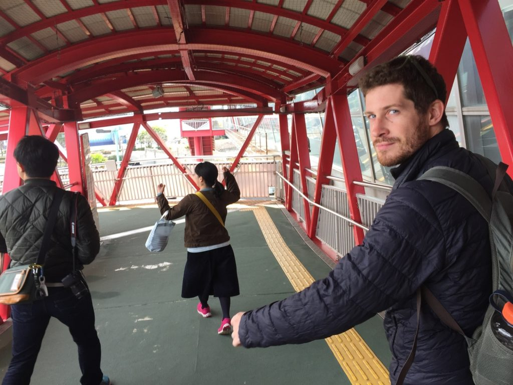 Getting onto the ferry in Kagoshima