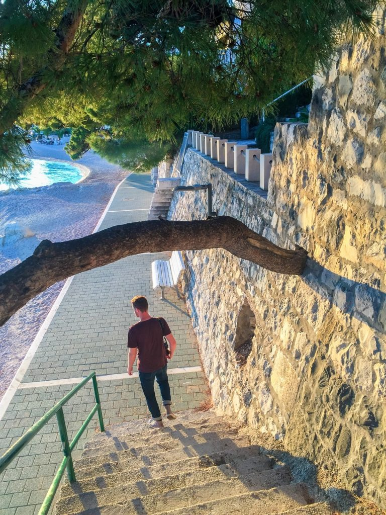 The beach in Brela on the Dalmatian Coast, Croatia