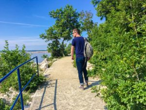 Jackson walking along a path