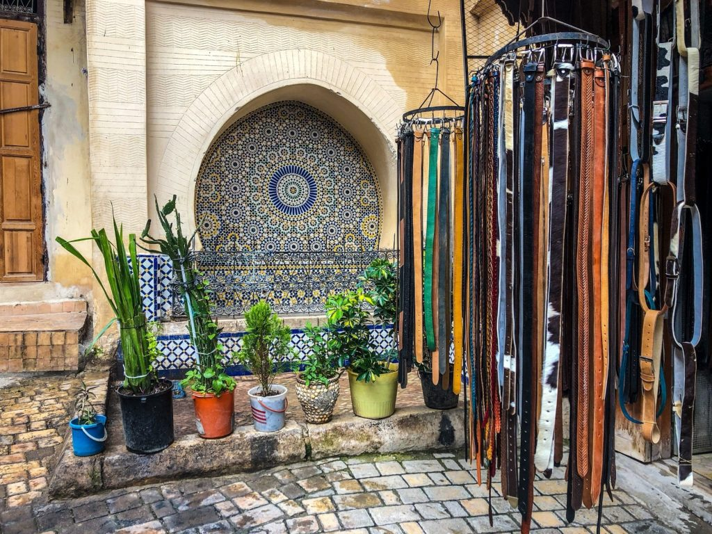 A merchant's stall in Fez, Morocco.