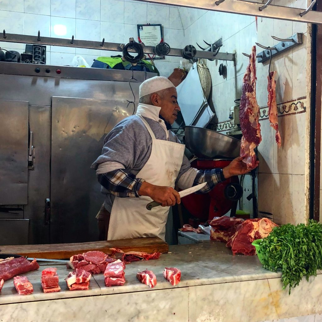 A butcher in Fez, Morocco.