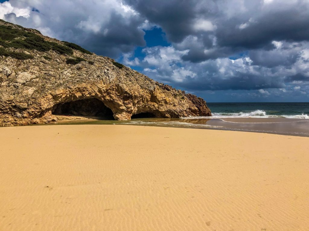 A deserted beach in Algarve Portugal